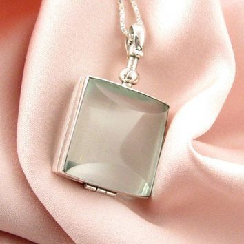 Beveled Glass Locket - Square -Add/Replace your own Photos- Sterling Silver Chain Included