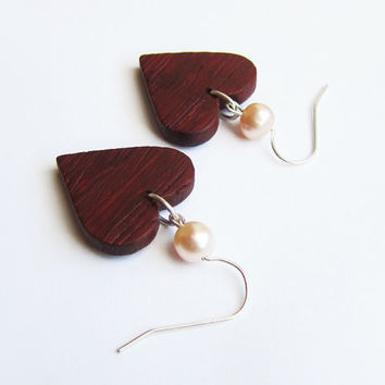 Wooden earrings, natural, caramel wood, earrings, freshwater pearl, heart earrings