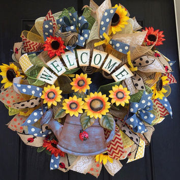 Welcome Sunflower deco mesh wreath, spring deco mesh wreath, Welcome burlap wreath, sunflower burlap wreath, summer deco mesh wreath,