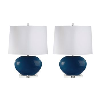 318/S2 Blown Glass Oval Table Lamp In Royal Blue - Set of 2