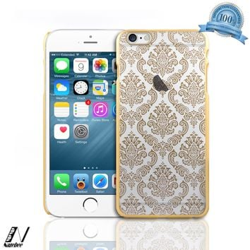 NageBee(TM) - iPhone 6 Plus 5.5 Case - Diva Lace Damask Design Ultra Slim Translucent Rubber Coating Hard Case + {LCD Screen Protector Shield(Ultra Clear) + Touch Screen Stylus} (Lace Case Gold)