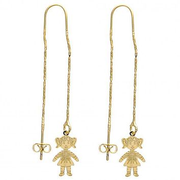 Gold Layered 02.65.2515 Long Earring, Little Girl Design, Polished Finish, Golden Tone