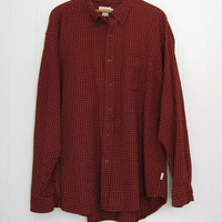 Mens Vintage Soft Flannel Check Burgundy Button Down Shirt XL XXL