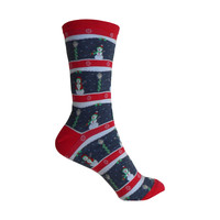 Snowmen Crew Socks in Denim Heather