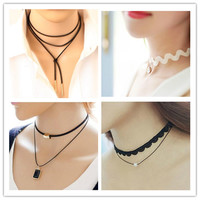 One Direction 2016 New Exo Short Love Crystal Lace Necklace Collares Bijoux Pendant For Women Wedding Jewelry Choker Cheap