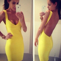Free Shipping 2016 New Arrival Super Hot Sexy Open Back Yellow Night Club Backless Bodycon Bandage Dresses 9 Colors Available