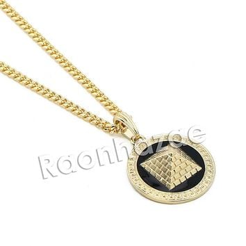 "Mens Iced Out Gold 3D Pyramid Pendant w/ 5mm 24"" 30"" Brass Cuban Chain A11"