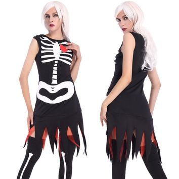 Adult Women Halloween Scary Skeleton Gothic Costume Sleeveless Dress Joker Idea Black Outfit Vampire Death For Girls Plus Size