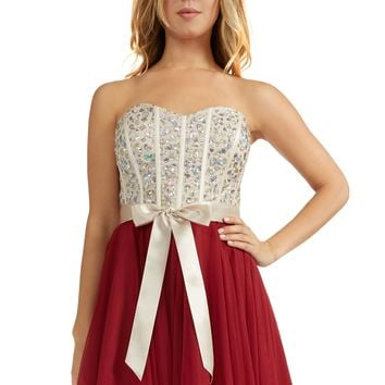 Teeze Me | Queen Colleen Strapless Corset Jewel Beaded Full Tulle Skirt Party Dress | Champagne/Burgundy