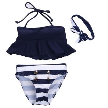 3Pcs Kids Baby Girls Bikini Suit Outfits Navy Striped Headband Swimsuit Swimwear Bathing Swimming Clothes New