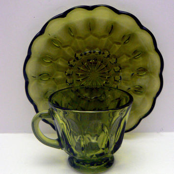 Anchor Hocking Fairfield Cup Saucer Set Avocado Green Ruffled Edge Saucer Vintage Glassware Fair Field Cup and Saucer