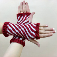 Striped Fingerless Gloves, Candy Cane Texting Gloves, Red & White Hobo Wrist Warmers