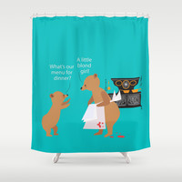 Goldilock's menu Shower Curtain by Aurapim Vorasopan