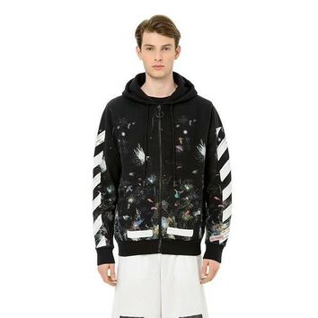 DCCKU1Q Off White Star Fireworks Inkjet Stripes Doodle Cardigan Hooded Sweater Round neck sweater Hooded sweater