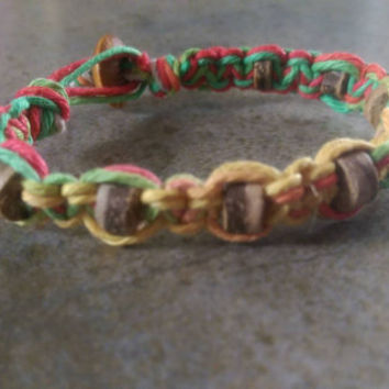 Toddler Rasta Hemp Bracelet, Gift for Children, Rasta, Coconut Shells, Summer, Hemp Bracelet, Free USA Shipping