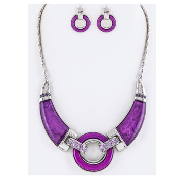 """""""Simply Beautiful"""" Bar and Hoop Purple Statement Necklace Set"""