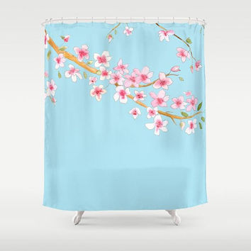 Cherry Blossom Shower Curtain - Fabric - Pink and blue, floral spring bathroom