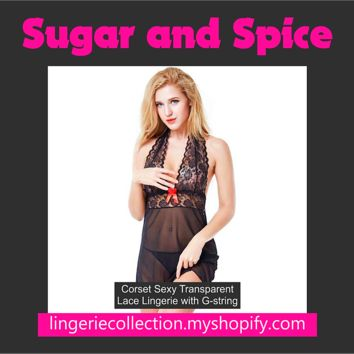 Corset Sexy Transparent Lace Lingerie with G-string Sleepwear