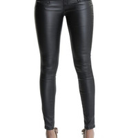High Waist Zipper Leather Pants