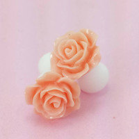 SALE (20% OFF!) Buy 2 Pairs/get 3rd FREE! Peachy Cream Small Flower Rose Plugs/gauges 10g 8g 6g 4g 2g 0g 00g 1/2 9/16