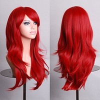 "Outop 28"" Long Heat Resistant Big Wavy Dark Red Cosplay Wig"
