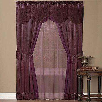 Ben&Jonah Collection Halley 6 Piece Window Curtain Set - 56x84 - Merlot