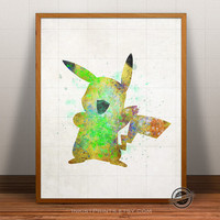Pikachu Print Watercolor, Pokemon Poster, Animation Art, Baby Nursery Illustration, Giclee Wall, Kid Artwork, Comic, Fine Art, Home Decor