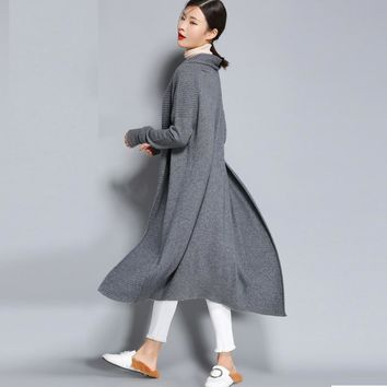 2018 Spring And Autumn Pure Wool Coat Cardigan Feminino Women Loose Coat Girls Long V Lead Long Sleeve Knitting Sweater Shawl