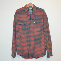 Vintage Plaid Flannel Shirt Vintage Red and Blue Lumberjack Grunge Buffalo Rockabilly Slouchy Button up Grunge Plaid Shirt Size