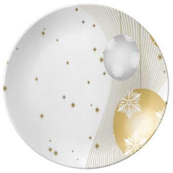 Silver and Gold Dinner Plate