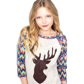Girls French Terry Baseball Top with Deer Suede-Like Print, Oatmeal