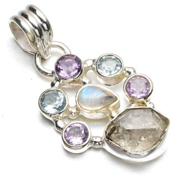 """Natural Drusy Druzy,Blue Topaz,Amethyst and Moonstone 925 Sterling Silver Pendant 1 1/4"""" R0392"""