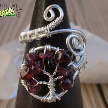 Garnet Tree of Life Ring - Tree of Life Jewelry - Wire Wrapped Ring - Made to Order - Silver Plated Copper