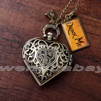 Fashion Bronze Heart Shape Hollow Case Drink Me Alice In Wonderland Pocket Watch Necklace Women Lady Girl Best Xmas Gift DRINK71