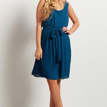 Teal-Pleated-Sash-Tie-Tunic/Dress