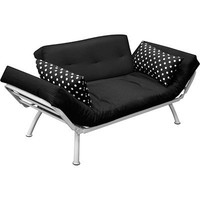 American Furniture Alliance Modern Loft Collection Futon Mali Flex Combo, Black/Black and White Polka Dots