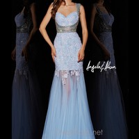 Iridescent Cap Sleeves Angela & Alison Formal Prom Gown 51018