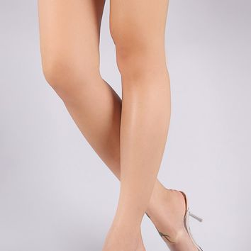 Transparent Band Clear Stiletto Mule Heel