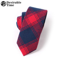 Men Red Plaid Ties Fashion Style Men Skinny Green Cotton Tie