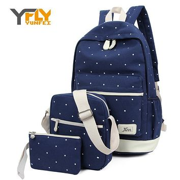 Y-FLY 3pcs/set 2016 Canvas Fashion Backpacks for Teenage Grils New Casual Women Backpack Preppy Dot Computer Travel Bags HC5045