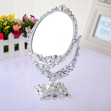 Oval  vintage plastic painted Gold, silver mirrors dual size 3 times magnifying cosmetic table decoration