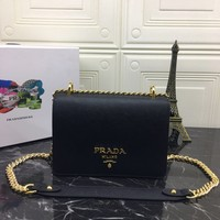 PRADA WOMEN'S LEATHER 1BD133 INCLINED SHOULDER BAG
