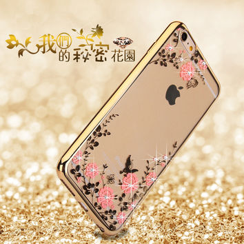 Crystal Diamond Flower Case for iphone 6 6s Slim Soft Luxury Ultra Thin Clean Soft TPU Fashion cover for iphone 6 6s