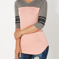 Peach Blocked Varsity Striped Tee | Long Sleeve | rue21