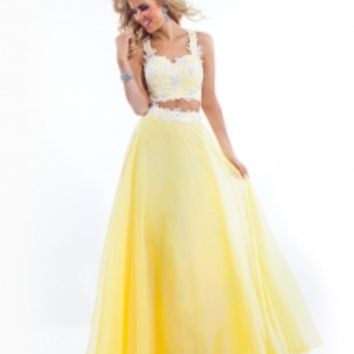 Rachel Allan 6832 2pc Chiffon Prom Gown - French Novelty