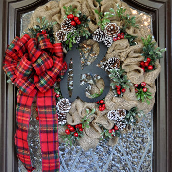 Christmas Wreath, Holiday Wreath, Rustic, Burlap, Monogramed, Holly, Pinecones, Plaid Ribbon