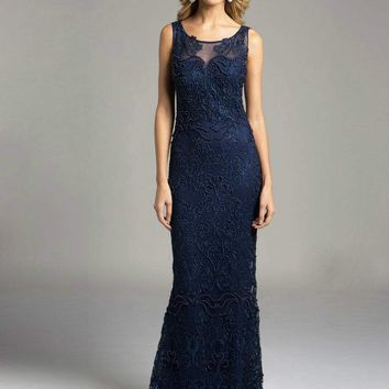 Lara Dresses - 33227 Sheer Bateau Illusion Sheath Evening Gown with Faux Pearls and Lace Appliques