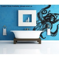 """Stickerbrand© Animals Vinyl Wall Art Giant Octopus Wall Decal Sticker - Multiple Colors Available, 60"""" x 54"""". Easy to Apply & Removable. Includes FREE Application Squeegee"""