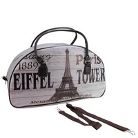 "20"" Vintage-Style Paris and Eiffel Tower French Theme Travel Bag with Handles and Shoulder Strap"