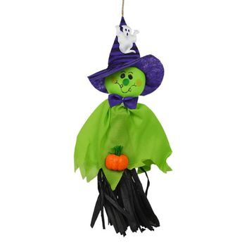 Halloween Creepy Hanging Scarecrow Ghost Halloween Home Garden Yard Bar Decorations Party Supplies Haunted House Props (Green)